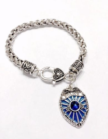 Blue Police Badge Shield Gift For Officer Wife Girlfriend Mom Charm Bracelet