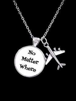 No Matter Where Airplane Long Distance Best Friends Sisters Gift Necklace