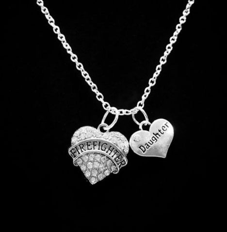 Crystal Firefighter Daughter Heart Fireman Firefighters Gift Charm Necklace