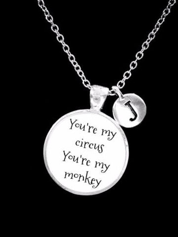 Choose Initial, Best Friend You're My Circus My Monkey Sister Gift Necklace