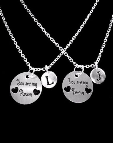Choose Initials, You Are My Person You're My Best Friend Sister Necklace Set