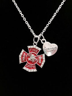 Red Maltese Cross Firefighter Grandpa Fireman Firefighters Gift Charm Necklace