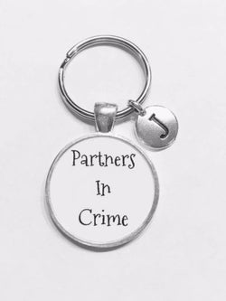 Choose Initial, Partners In Crime Best Friend Gift Sister Mom Keychain