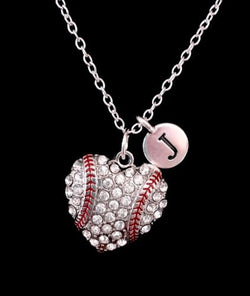 Initial Baseball Heart Softball Mom Mother's Day Gift Sports Charm Necklace