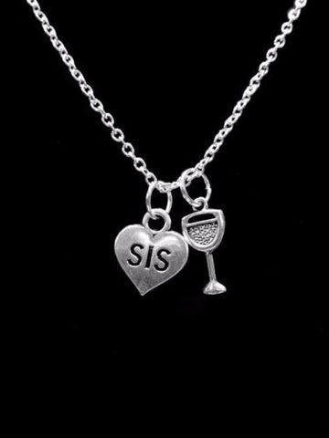 Sis Heart Wine Glass Gift For Sister Partners In Crime Sisters Necklace