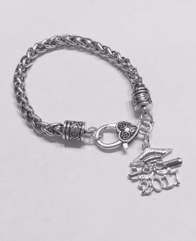 Gift For Her, Graduation Class Of 2017 Charm Bracelet