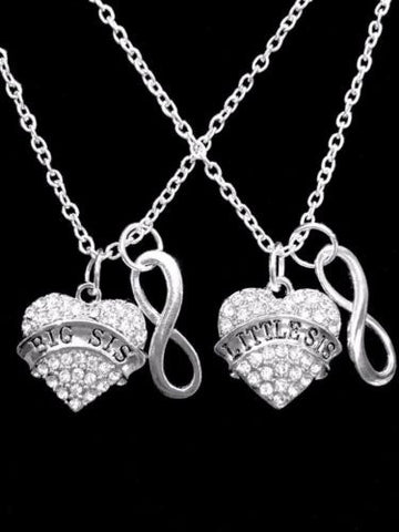 Crystal Big Sis Little Sis Gift Sister Christmas Gift Infinity Necklace Set