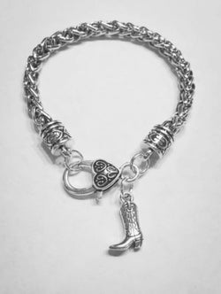 Western Boot Cowgirl Cowboy Country Gift Charm Bracelet