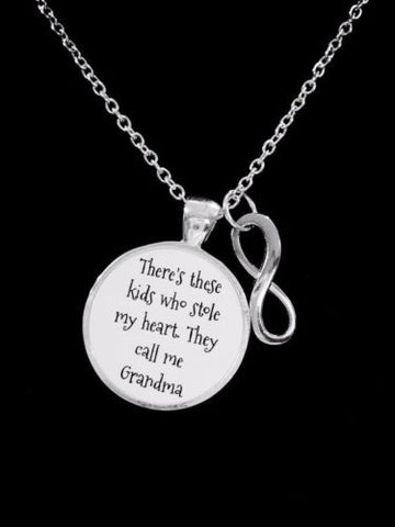 Grandma There's These Kids Who Stole My Heart Infinity Christmas Gift Necklace