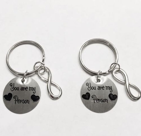 2 Keychains You Are My Person Infinity Best Friends Sisters Couples Set
