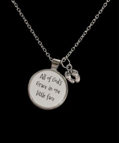 Baby Footprints All Of God's Grace In One Little Face Gift For Mother Necklace