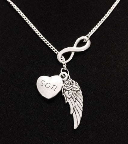 Son Guardian Angel Wing Infinity In Memory Heaven Y Lariat Necklace