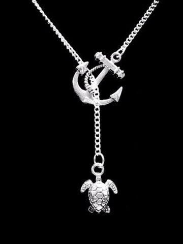 Sea Turtle Ocean Beach Nautical Animal Nature Gift Anchor Lariat Necklace