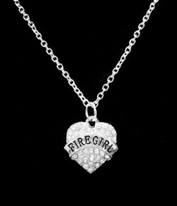 Crystal Fire Girl Heart Firefighter Fireman Wife Girlfriend Gift Charm Necklace
