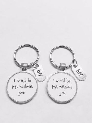 Bff I Would Be Lost Without You Best Friend Gift Keychain Set