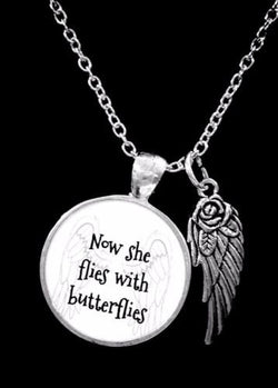 Angel Now She Flies With Butterflies Mom Grandma Sister Friend Memory Necklace