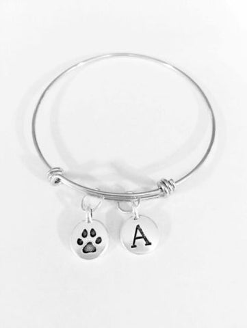 Adjustable Bangle Charm Bracelet Initial Paw Print Animal Lover Dog Cat Fur Baby