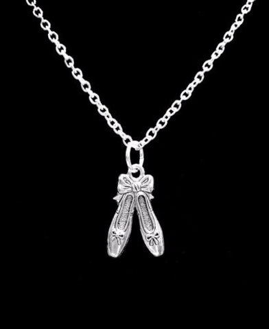 Ballet Slippers Shoes Ballerina Dance Gift Charm Necklace