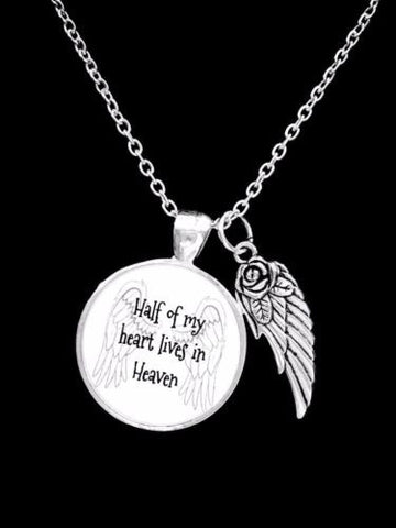 Guardian Angel Half Of My Heart Lives In Heaven In Memory Gift Necklace