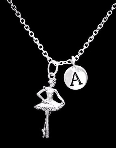 Choose Initial, Ballerina Ballet Dance Mother's Day Gift Daughter Mom Necklace