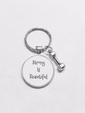Strong Is Beautiful Dumbbell Gift Inspirational Sports Fitness Keychain