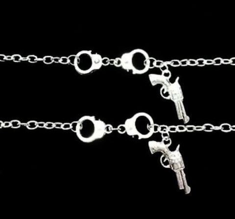 2 Bracelets Handcuff Gun Partners In Crime Best Friends Sisters Friendship Set