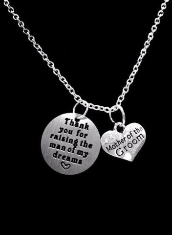 Thank You For Raising The Man Of My Dreams Mother Of The Groom Wedding Necklace