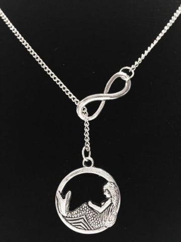 Infinity Mermaid Ocean Beach Nautical Mythical Creature Lariat Necklace