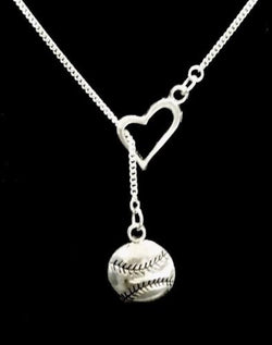 Baseball Softball Heart Allstar Mom Sports Theme Athletic Gift Y Lariat Necklace
