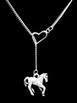 Horse Lover Cowgirl Animal Rodeo Heart Lariat Gift Friend Sister Necklace