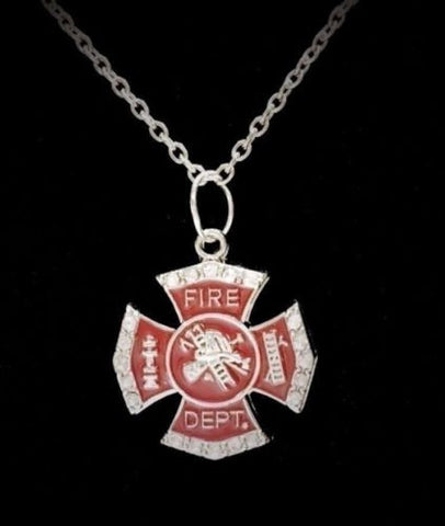 Red Crystal Maltese Cross Fireman Firefighters Wife Girlfriend Charm Necklace