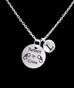 Choose Initial, Partners In Crime My Best Friend Sister Gift Necklace