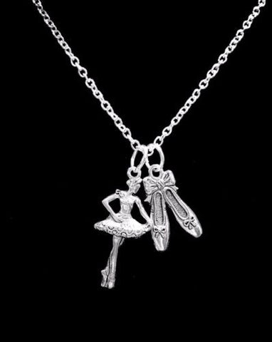 Ballerina Ballet Slippers Shoes Dance Gift Charm Necklace