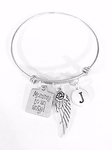 Adjustable Bangle Charm Bracelet Mommy To An Angel Wing Mother's Day Initial