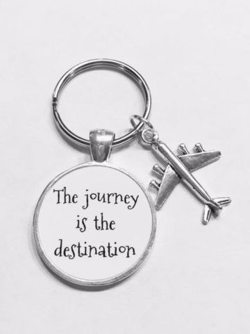 Airplane The Journey Is The Destination Best Friend Sister Graduation Keychain