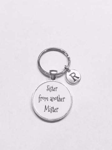 Choose Initial, Sister From Another Mister Gift Best Friend Friendship Keychain