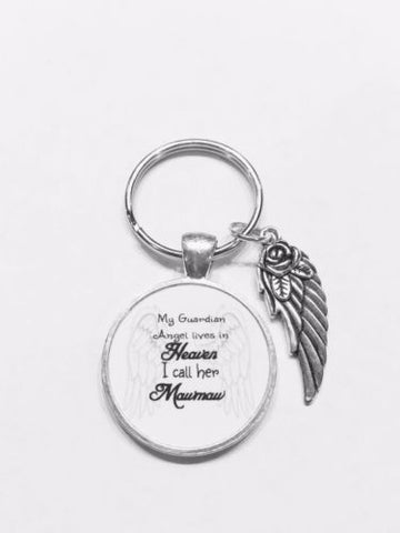 My Guardian Angel Lives In Heaven I Call Her Mawmaw In Memory Wing Keychain