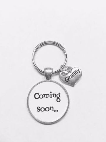 Coming Soon Granny Gift For Grandmother To Be Baby Shower Keychain