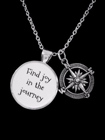Compass Find Joy In The Journey Direction Nautical Gift Necklace