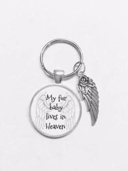 My Fur Baby Lives In Heaven Animal Dog Cat In Memory Angel Wing Gift Keychain