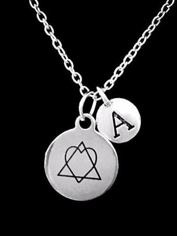 Choose Initial, Adoption Symbol Heart In Triangle Forever Home Gift Necklace