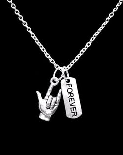 Sign Language I Love You Hand Forever Valentine's Day Gift Charm Necklace