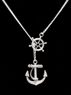 Anchor Of Hope Rudder Ship Wheel Helm Nautical Y Lariat Necklace