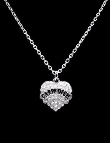 Crystal Carpe Diem Heart Christmas Gift Seize The Day Charm Necklace