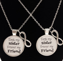2 Necklaces Infinity First My Sister Forever My Friend Sisters Quote Set