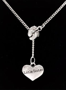 Baby Footprints Little Sister Gift Mother's Day Lariat Style Necklace