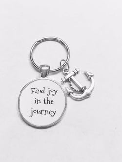 Anchor Find Joy In The Journey Inspirational Nautical Graduation Gift Keychain