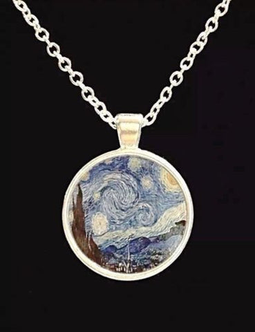 A Starry Night Van Gogh Picture Painting Wearable Art Necklace