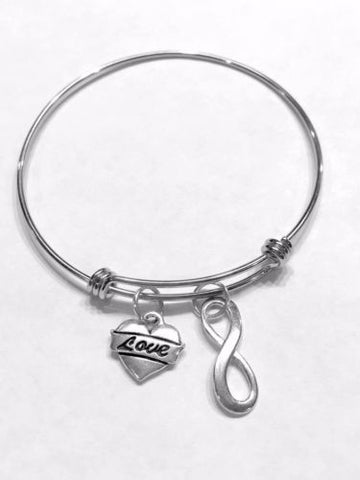 Bangle Charm Bracelet Love Heart Infinity Mother's Day Gift Wife Girlfriend