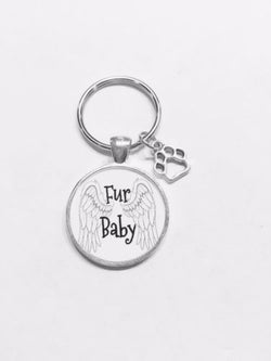 Fur Baby Paw Prints Dog Cat Animal Gift Keychain